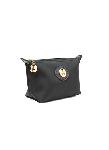TH Bags TH Bags Fermuarlı Suni Deri Kadın Makyaj Çantası Siyah